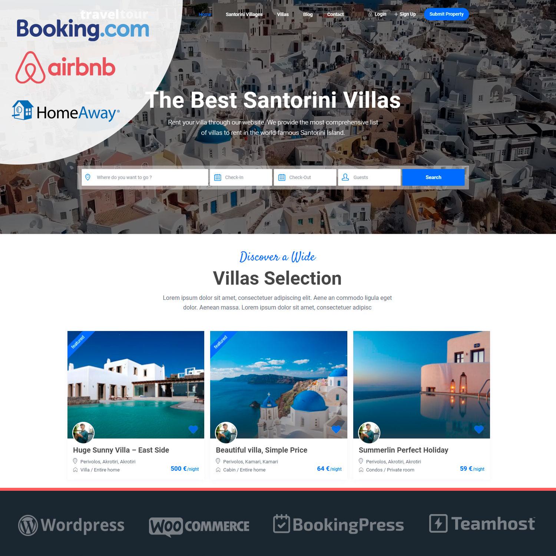 Plantilla página web WordPress Alquileres Vacacionales con Airbnb, Booking, etc. TravelTour