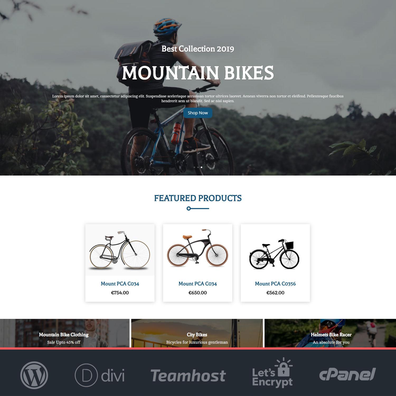 plantilla tienda bicicletas wordpress divi