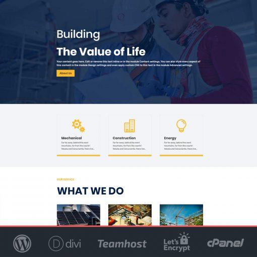 plantilla construcciones wordpress divi