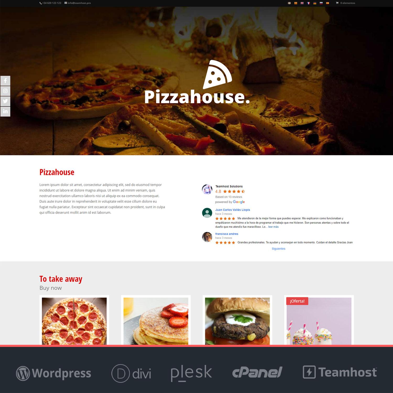 Página web para restaurantes Pizza House