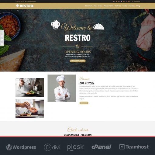 Página web para restaurantes Restro