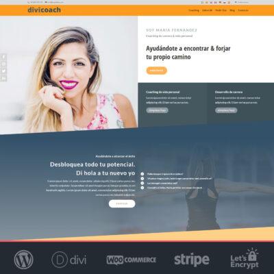 Crear página web WordPress y Divi de coach