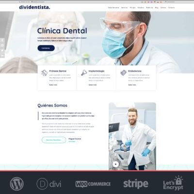 Crear página web WordPress Divi Dentistas