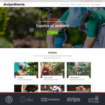 Crear página web WordPress Divi Jardinería