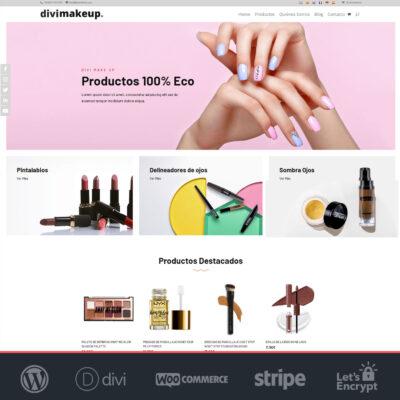 Crear tienda online Woocommerce y Divi de cosmética y belleza