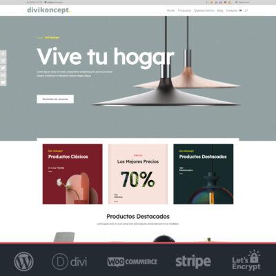 crear tienda online Woocommerce y Divi de muebles